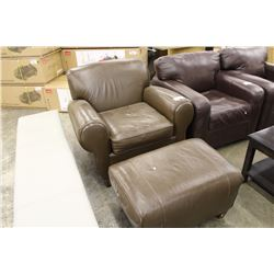 Brown leather arm chair with matching ottoman able auctions for Matching arm chairs