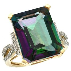 Natural 12.14 ctw Mystic-topaz & Diamond Engagement Ring 10K Yellow Gold - SC-CY908134-REF#53X2A