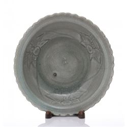 Antique Chinese porcelain celadon dish.  SIZE: see atta