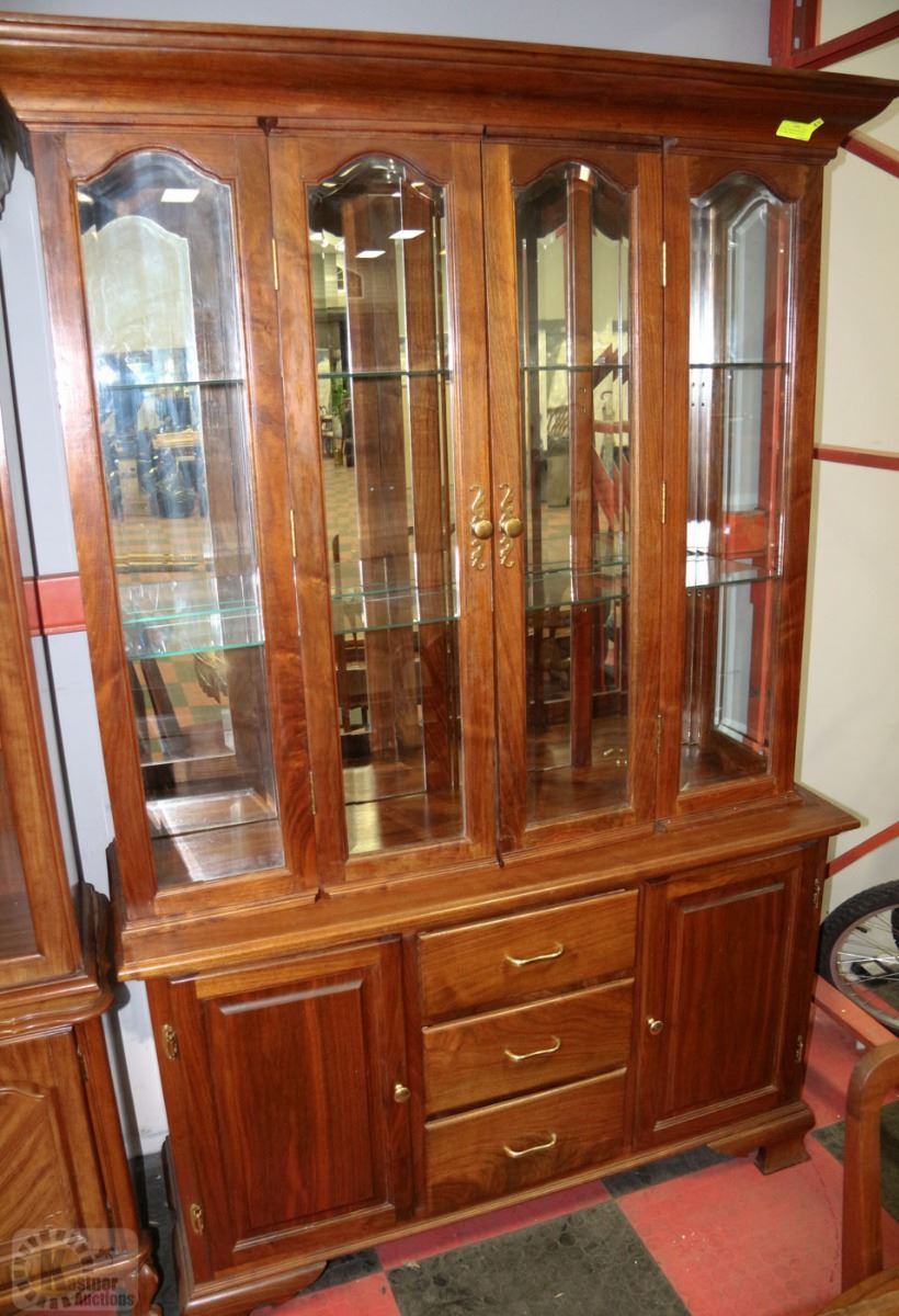 Wooden dining room suite including buffet hutch for Dining room hutch canada