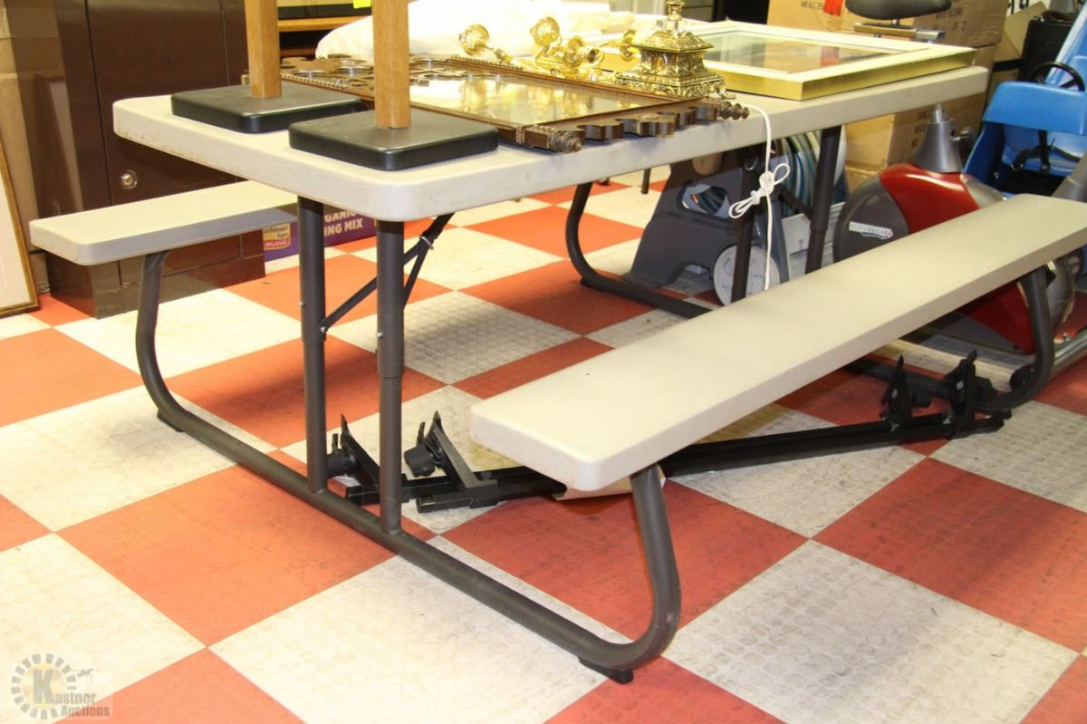 2 pc easy fold flat 8 person picnic table kastner auctions for 10 person picnic table