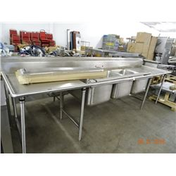 Commercial S/S 3 Comp Sink w/Drainboards