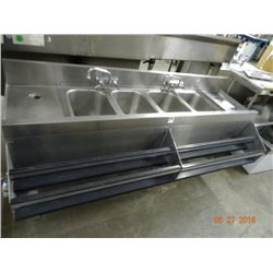 6' S/S 4-Comp Bar Sink w/Double Speed Rail