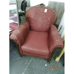 Carved Mahogany Padded Armchair