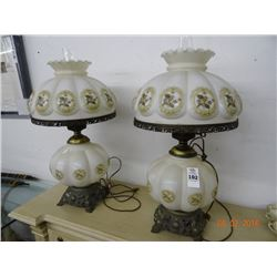 Pair of Painted Hurricane Lamps