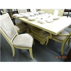 Pickled Oak Dining Table w/6 Chairs & Leaf