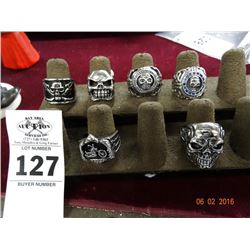 6 Skull & Assorted S/S Men's Rings - 6 Times the Money