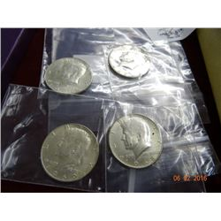 4 Kennedy Half Dollars 1966-1969 - 4 Times the Money
