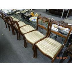 6 Wood Carved Rose Pattern Chairs - 6 Times the Money