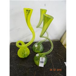 3 Twisted Art Glass Vases - 3 Times the Money - No Shipping