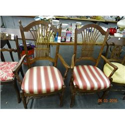 Oak Padded Chairs (Pair)