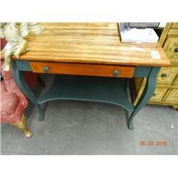 Oak & Green Table w/Drawer