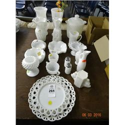 Assorted Milk Glass Dishes/Bowls/Vases & More - No Shipping