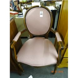 Oak Pink Padded Armchair