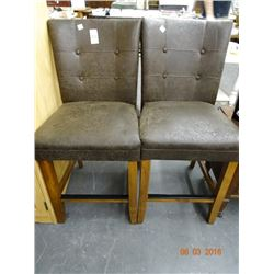 Leather Style Oak Stools (Pair)