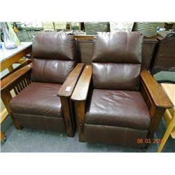 2 Oak Trim Leather Recliner - 2 Times the Money