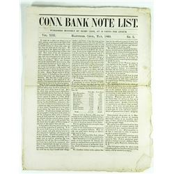 Substantial Group of Connecticut Bank Note Lists