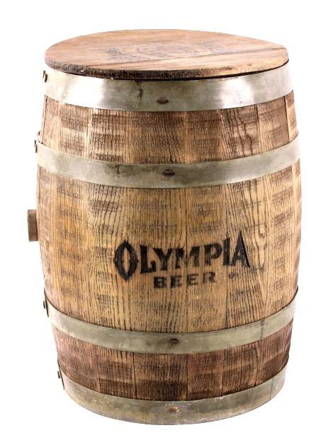 Olympia Beer Wooden Keg with Lid