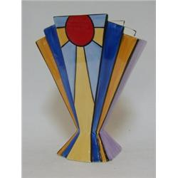A BRIAN WOOD ART DECO STYLE VASE, of stepped, tapered form, \'New ...