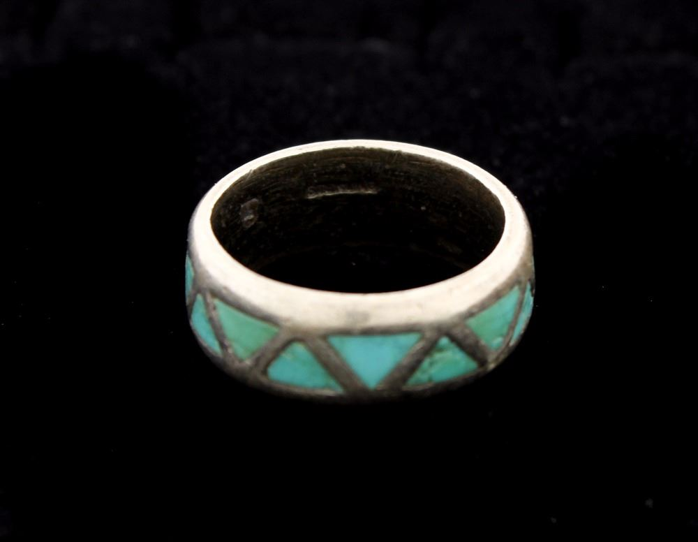 Image 3 RING Mens Stsilver Wedding Band W Inlaid Turquoise Triangles