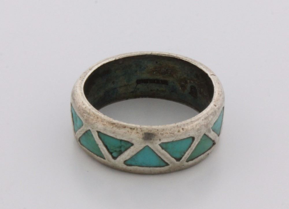 Image 4 RING Mens Stsilver Wedding Band W Inlaid Turquoise Triangles
