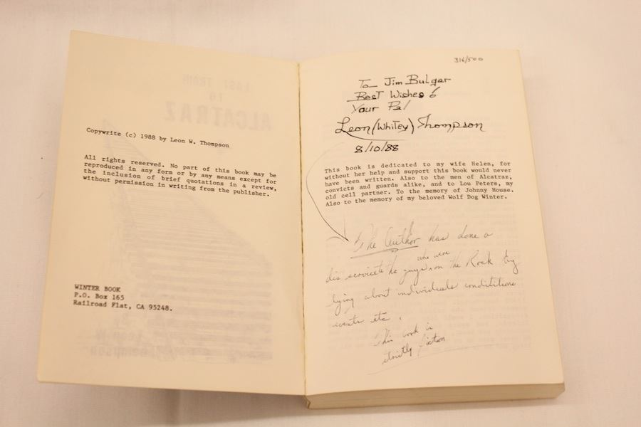 Book Last Train To Alcatraz Autographed To Bulger From Author