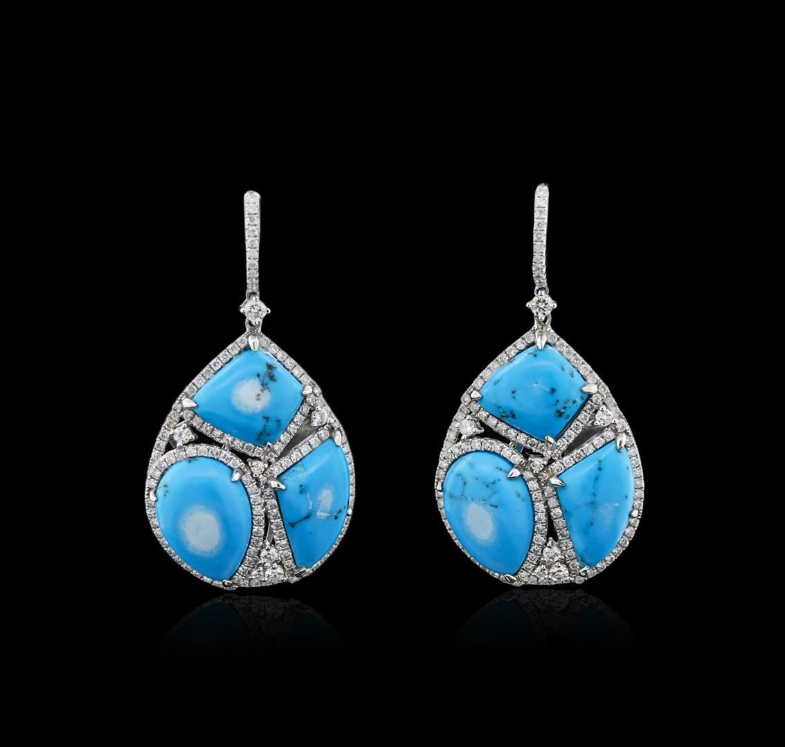 14kt white gold turquoise and diamond earrings. Black Bedroom Furniture Sets. Home Design Ideas