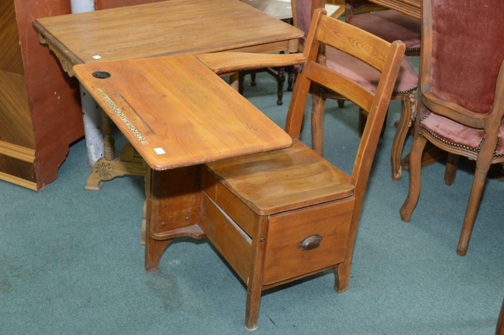 Image 1 : Child's vintage oak school desk with original New Empire  Furniture label and single - Child's Vintage Oak School Desk With Original New Empire Furniture
