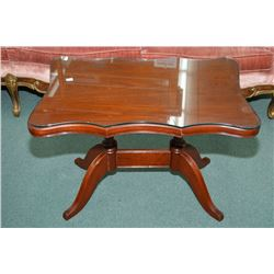 Mahogany Double Pedestal Coffee Table With Glass Top Protector