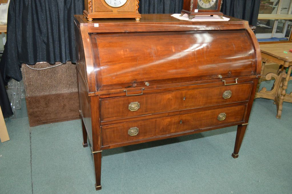 Antique Victorian mahogany cylinder desk with pull out writing surface,  fitted interior and original. Loading zoom - Antique Victorian Mahogany Cylinder Desk With Pull Out Writing