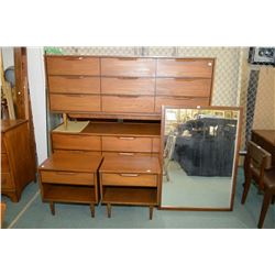 Mid Century Modern Walnut Bedroom Suite Including Two 9 Drawer Dressers Two Side Tables And Wall Mi