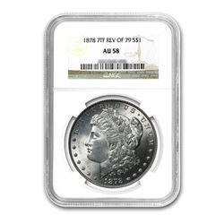 1878 Rev of 79 $1 Morgan Silver Dollar 7 Tail Feather - NGC AU58