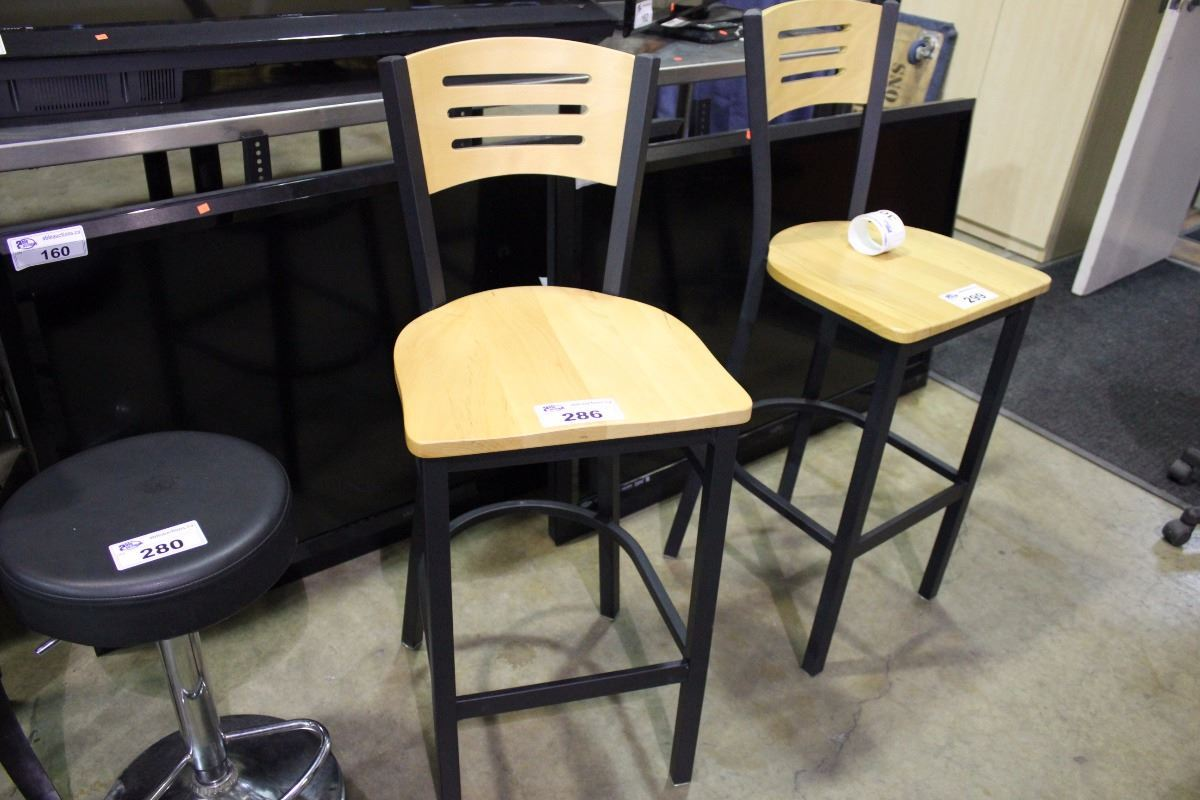 Black Metal And Wood Wide Back Bar Stool Able Auctions