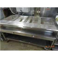 S/S Gas 4-Comp Rolling Steam Table