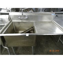 S/S Single 4' Pot Sink w/Drainboard