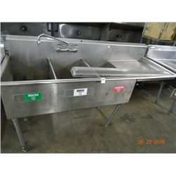S/S 3-Comp 6' Pot Sink w/Drainboard