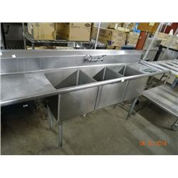 S/S 3-Comp 8' Sink w/Drainboards