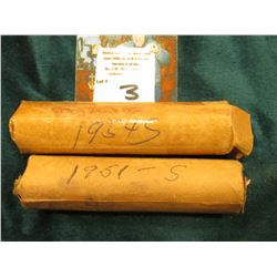 1951 S & 54 S Circulated Rolls of Lincoln Cents in paper bank-wrappers. (2 rolls)