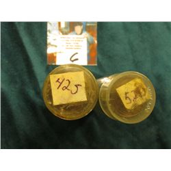 1942 S & 52 S Circulated Rolls of Lincoln Cents in plastic tubes. (2 rolls)