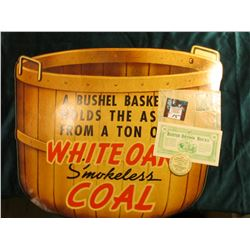 "Heavy paper sign ""A Bushel Basket Holds the Ash from a Ton of White Oak Smokeless Coal""; (3) differe"