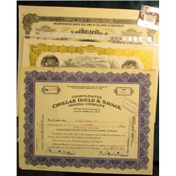 "(3) Large ornate Mining Stock Certificates, includes: ""Buloring Silver-Copper Mining Co."", ""Consolid"