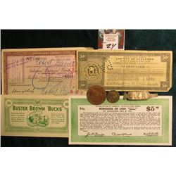 "1936 Tax Anticipation Note ""Borough of Lodi County of Bergen State of New Jersy"" $5 Scrip; 50c ""Bust"