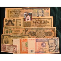 (10) Different Foreign Banknotes including a 10 Million Mark note from Germany dated 1923.