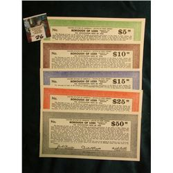 Depression Scrip, all Mint condition: $5, $10, $15, $25, & $50 Borough of Lodi-Tax Anticipation Note