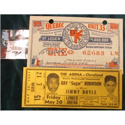 "Facsimile May 30, 1947 Admittion Ticket ""Ray ""Sugar Robinson vs. Jimmy Doyle Lower Arena"" on a Busin"