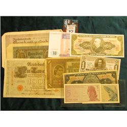 Group of (10) Different Foreign Bank notes dating back to 1910. Includes several old large size Germ
