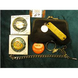 1906 Dyersville, Iowa Dog tag; Stainless Steel Bracelet; Watch chain clasp; cloth coin purse; 1963 D