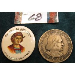 "1893 Columbian Souvenir Pin-back depicting ""Christopher Columbus"" & 1893 Columbian Exposition Silver"