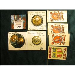 "Flag Pins: ""Welcome C.K.of A.""; & (3) I.O.R.M. (depicting Indian Chief); ""Barnum Bailey The Great Sh"