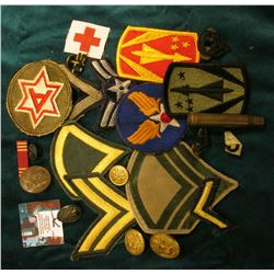 (20) Different Military Patches, Buttons, Badges, & etc.